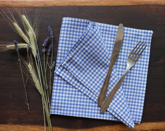 White Blue Linen Dinner Napkins in a checkered pattern,  Set of Linen Napkins of Natural Flax, Thanksgiving Natural Linen Napkins, Christmas