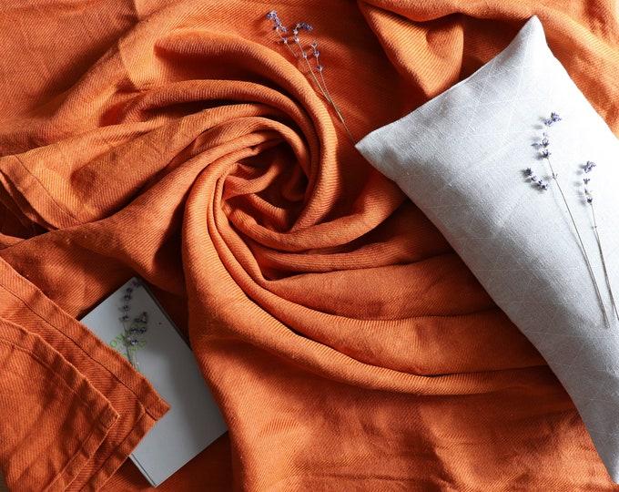 Orange linen blanket, Pure linen throw blanket, Summer blanket, Burnt orange linen, Thick linen bed cover, Beach blanket, Bedspread, Gift