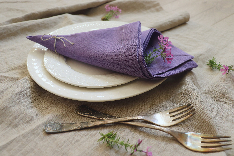 Natural Linen Napkins Set In Purple Color Lavender Napkins Of Organic Linen Flax Wedding Napkins Easter Napkins Christmas Linen Napkins