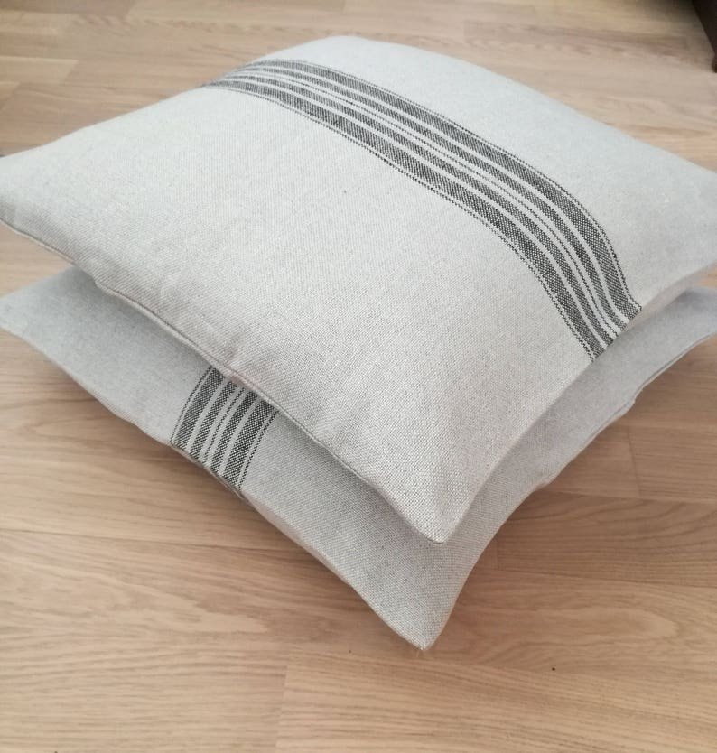 Grain Sack Pillow Cover With Black Stripe Pure Linen Throw Etsy