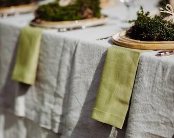 Green Linen Napkin Set of 6 8 10 - Natural Linen Napkins - Pure Linen - Moss Green Linen Napkins - Organic Linen Napkins - Christmas Table