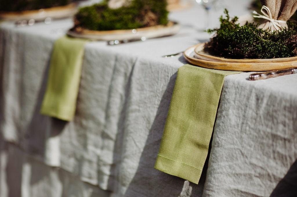 Green Linen Napkin Set of 6 8 10 - Natural Linen Napkins - Pure