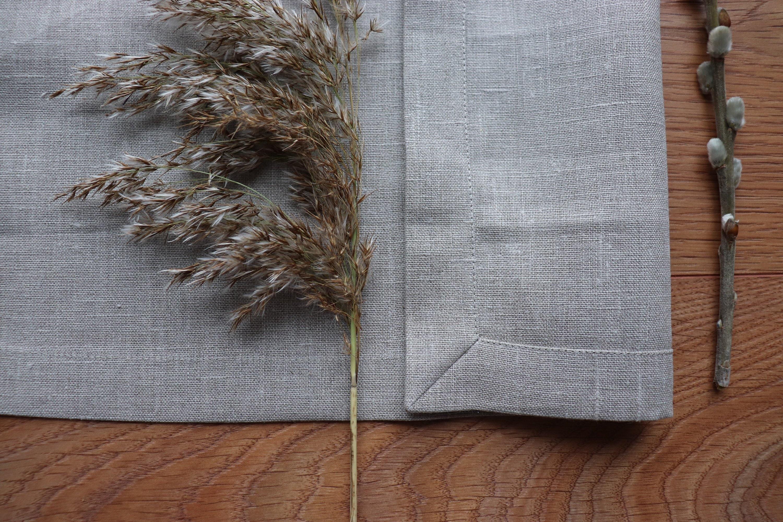 Linen Placemat Set of Organic Linen Flax, Natural Linen