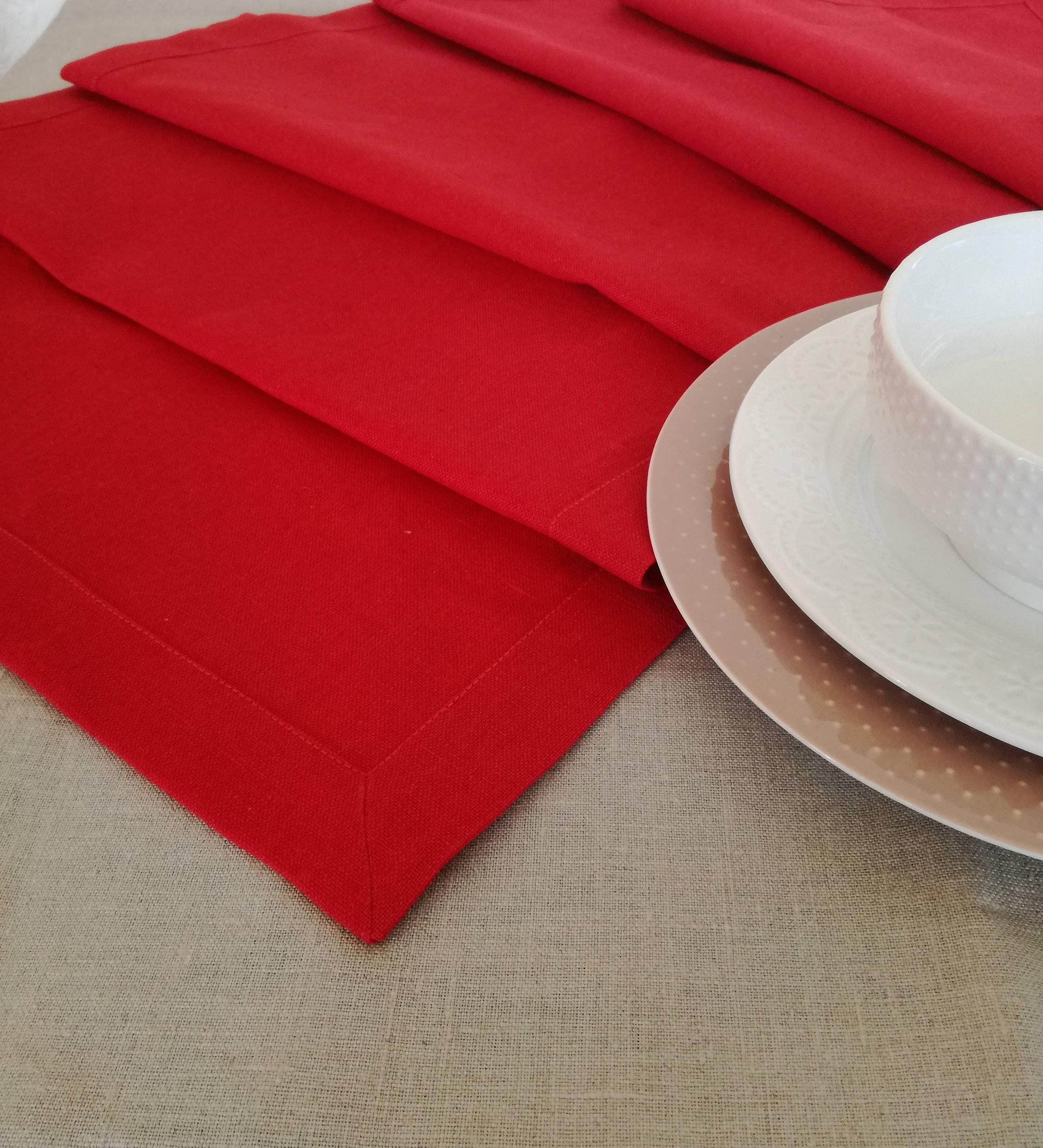 Red Linen Table Runner Christmas Table Runner Natural Linen