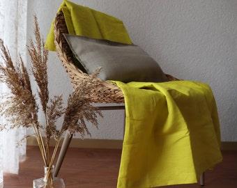 Summer Linen Throw Blanket in yellow color,  Pure Linen Throw Blanket For Summer, Linen Summer Cover, Linen Throw Blanket , Beach Blanket