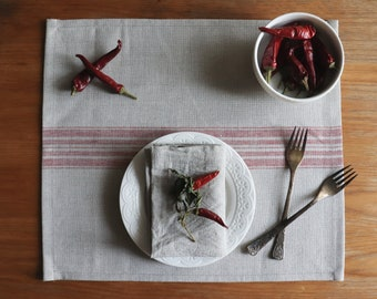 Placemat set of natural linen flax, Grain sack linen placemats with red stripes, Thick linen placemats, Farmhouse style linen placemats