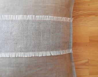 Vintage Lumbar Pillow - Pure Linen Throw Pillow - Natural Linen Decorative Pillow - Gray Cushion - Organic Pillowcase - Rustic Lumbar Pillow