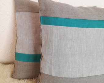 Teal Striped Throw Pillow set of 2 - Linen Decorative Pillow - Teal Grey Cushion Cover - Linen Pillow - Gray Pillow Cover -Rustic Cushion