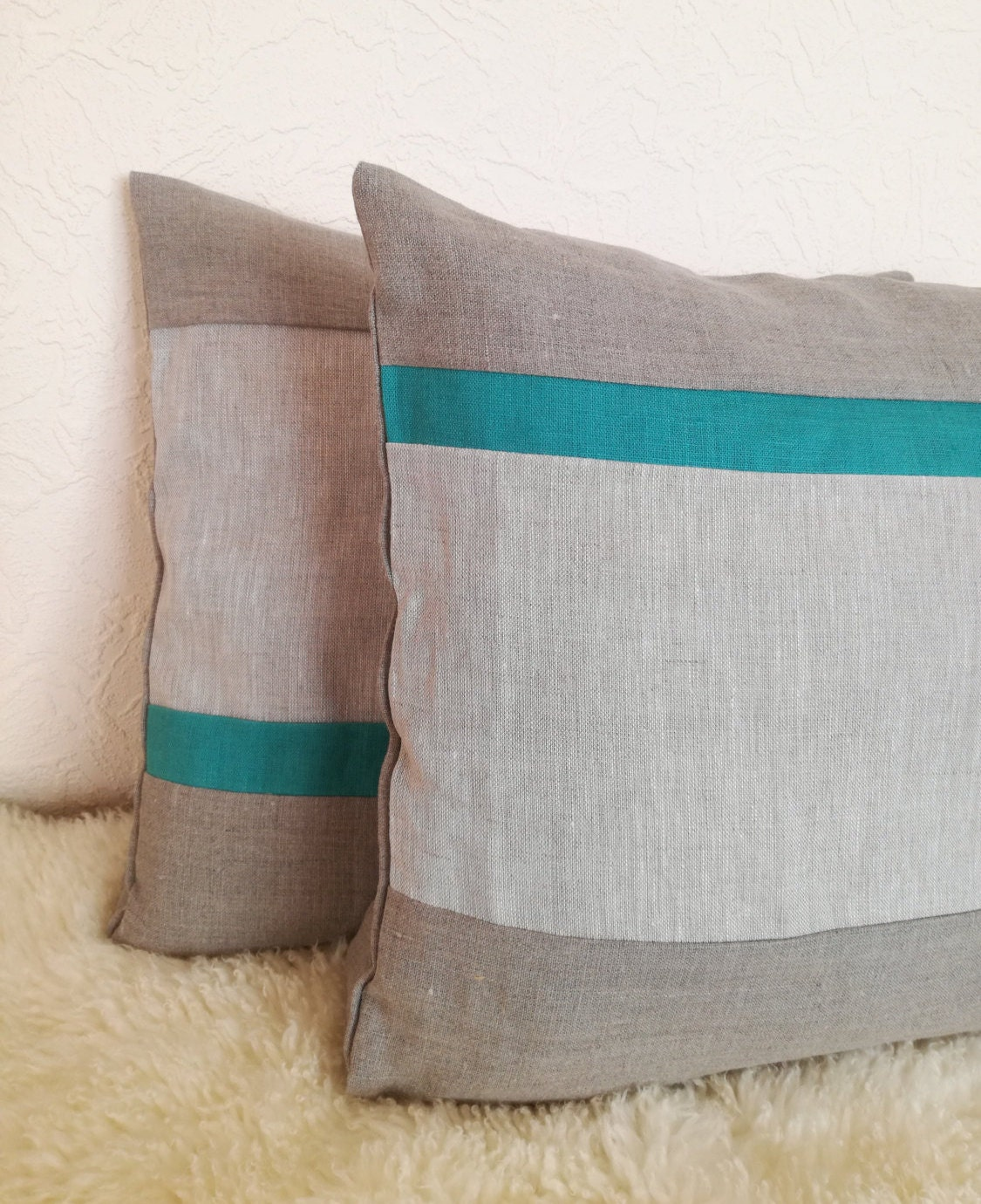 Teal Striped Throw Pillow Set Of 2 Linen Decorative Pillow Teal Grey Cushion Cover Linen Pillow Gray Pillow Cover Rustic Cushion