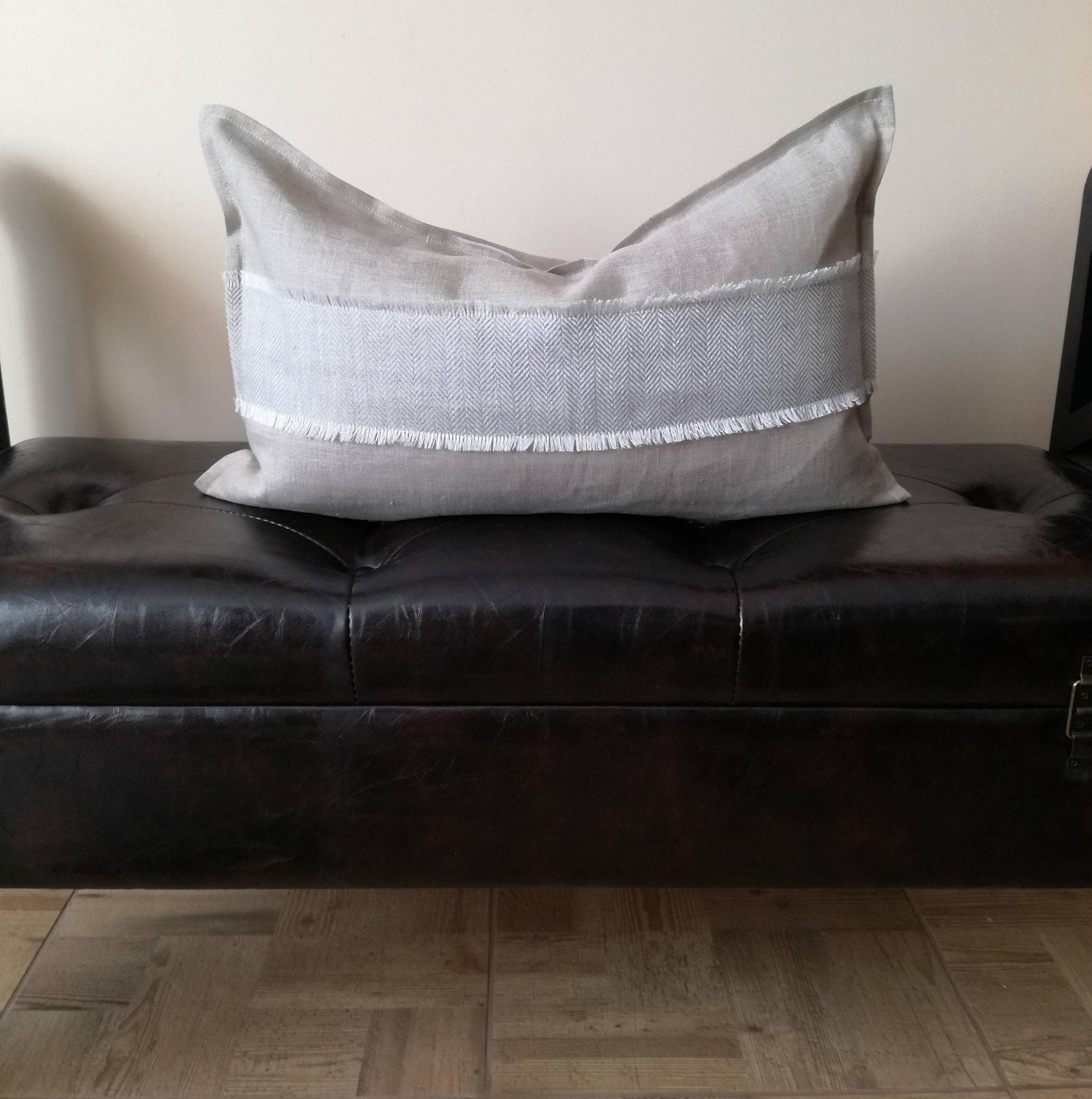 Gray Lumbar Pillow Cover Throw Pillow Linen Decorative Pillow Natural Linen Throw Pillow Grey Linen Cushion Cover Herring Bone Rug
