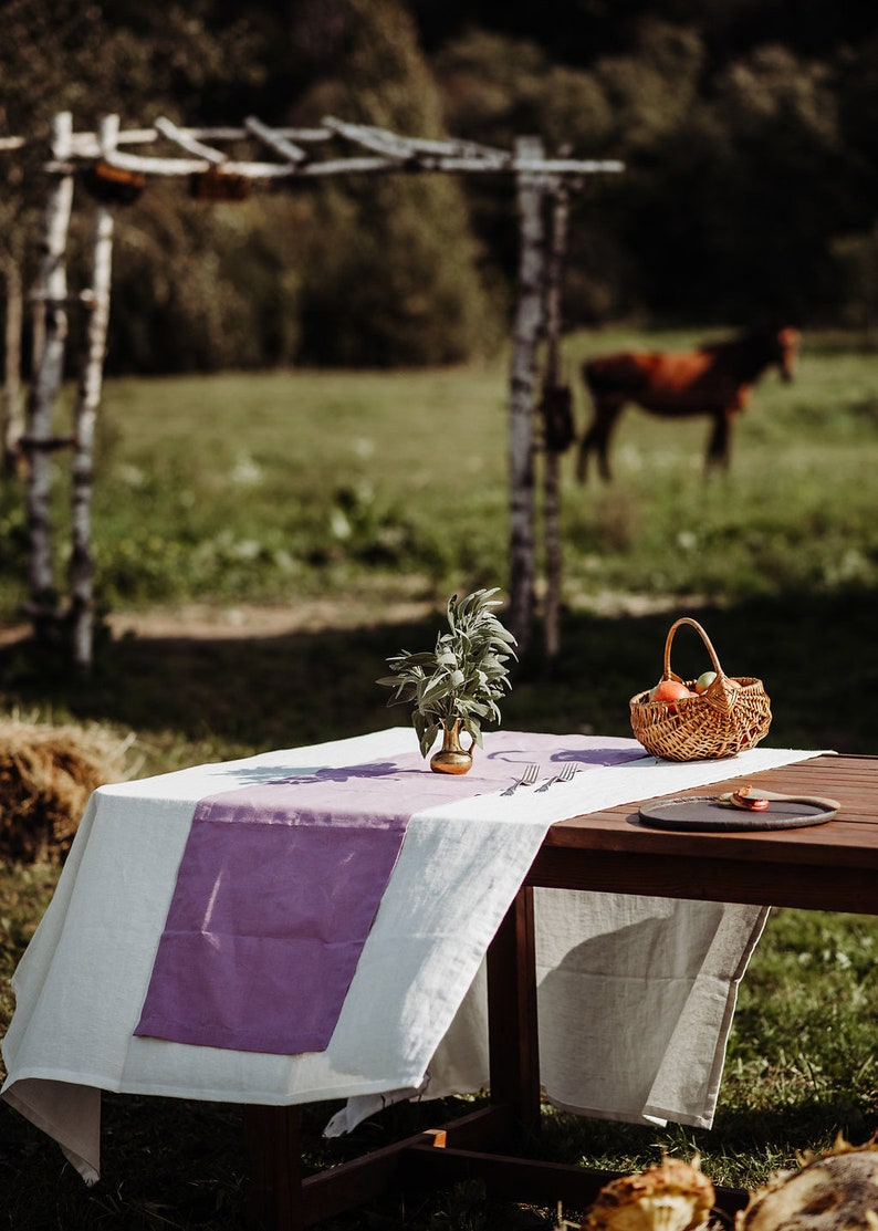 Set of tablecloth and napkins made of thick natural linen flax Christmas table linens Washed linen tablecloth and napkins of organic flax