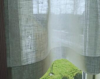 White Linen Cafe Curtain - Sheer Linen Curtain - Bathroom Window Curtain - Kitchen Panel - Light Privacy Window Shad - Linen Cafe Curtain