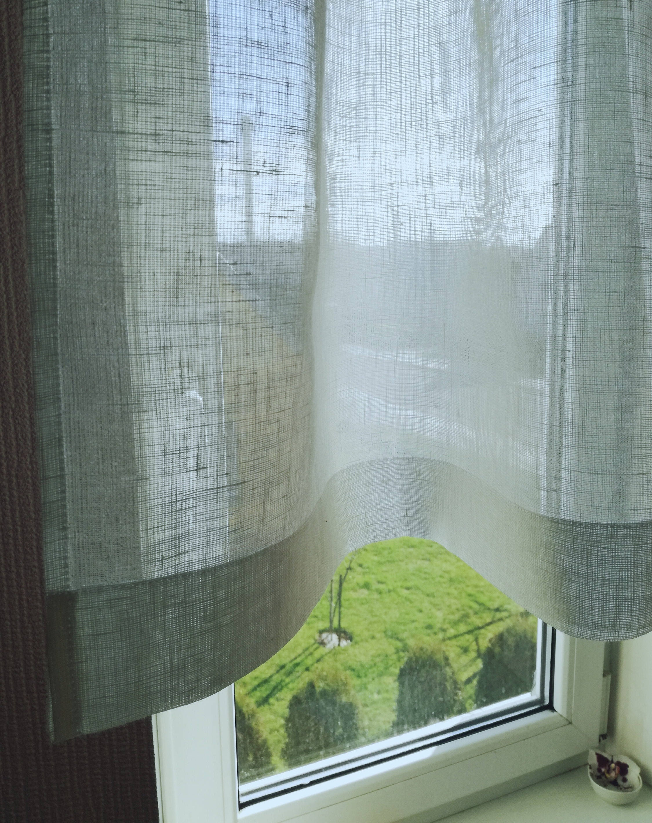 White Linen Cafe Curtain - Sheer Linen Curtain - Bathroom Window ...
