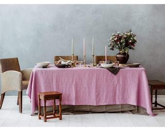Pink Linen Tablecloth - Lavender Pink Tablecloth - Natural Linen Tablecloth - Christmas Tablecloth - Elegant Table - Light Purple Tablecloth
