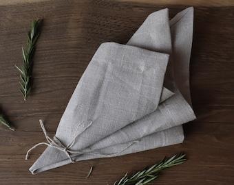 Linen Napkin Set of 20 in Natural Grey Color, Wedding Linen Napkins, Pure Linen Napkins of Organic Flax, Dinner Napkins, Rustic Napkins
