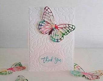 THANK YOU CARD, butterfly card, gratitude, thanks, rainbow butterfly, die cut butterfly, grateful, friend, all occasion card, EiderCraft