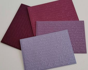 SCRIPT Set of 4 cards, blank, handmade greeting cards, shades of purple, embossed writing, envelopes, perfect gift, birthday sympathy thanks