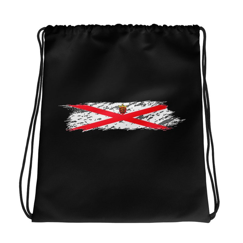 The Proud Flag of Jersey! Drawstring bag Hand Painted Brush Stroke Design of the Jersey Flag