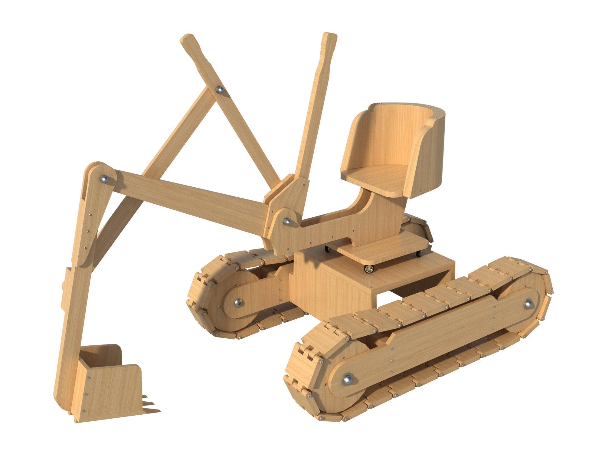 kids riding backhoe toy plans diy woodworking backyard children excavator  digger