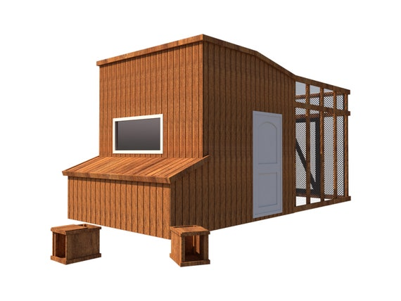 Chicken Coop Plans Diy Poultry Hen House With Run Kennel 8 X10 Build Your Own