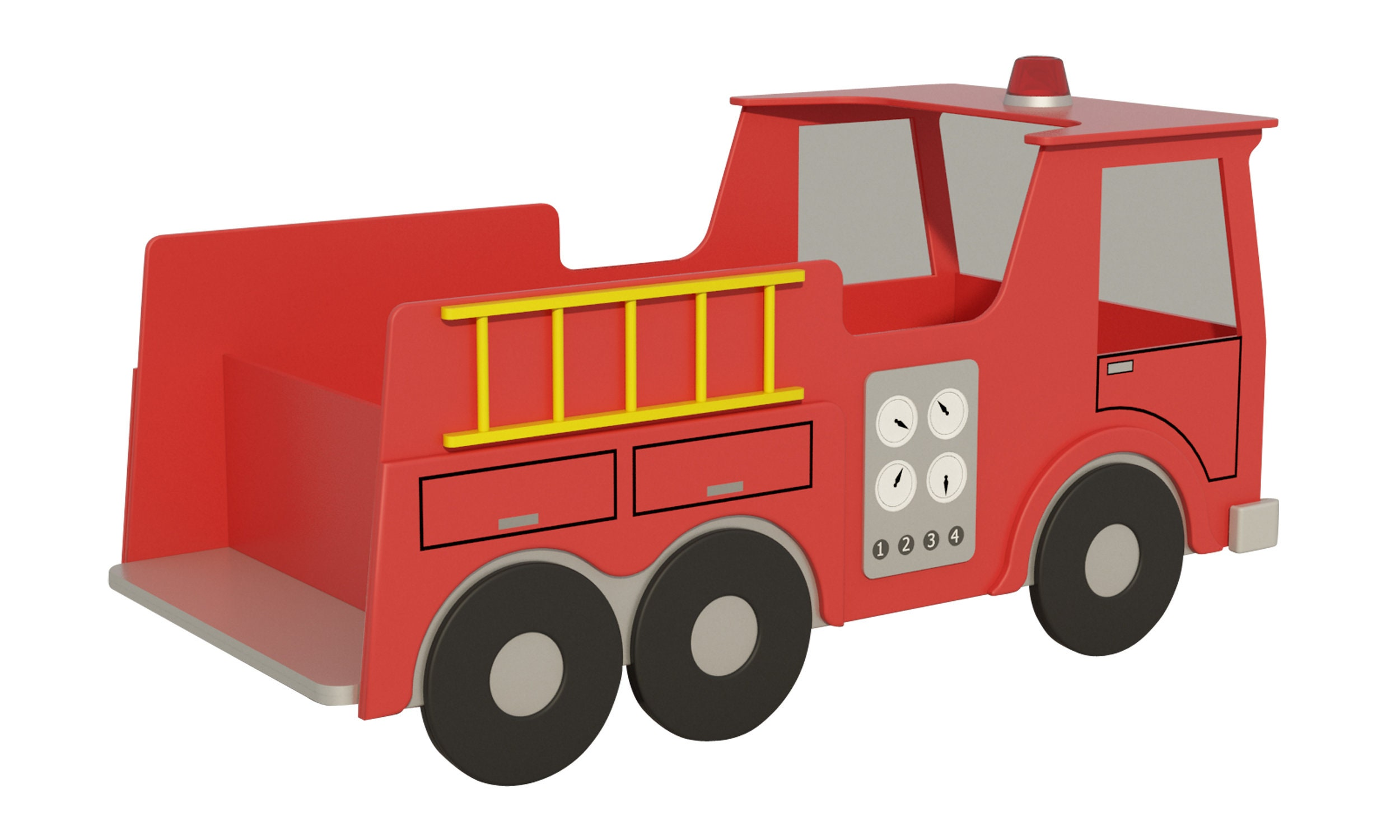 Fire Truck Kids Bed Plans DIY Child Single Bed Bedroom | Etsy
