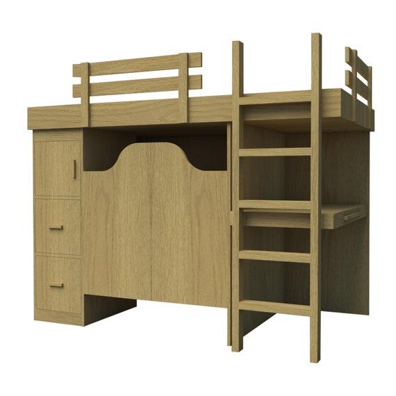 Bunk Bed Plans DIY 3 In 1 Desk Chest Storage Organizer Workstation  Woodworking