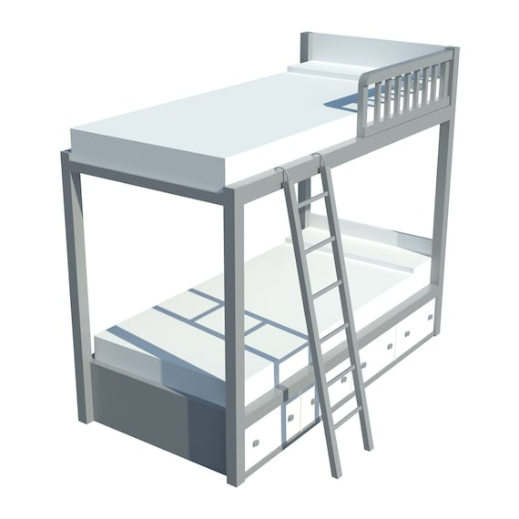 Bunk Bed Plans DIY Kids Boys Girls Bedroom Furniture w/ Ladder Storage Chest
