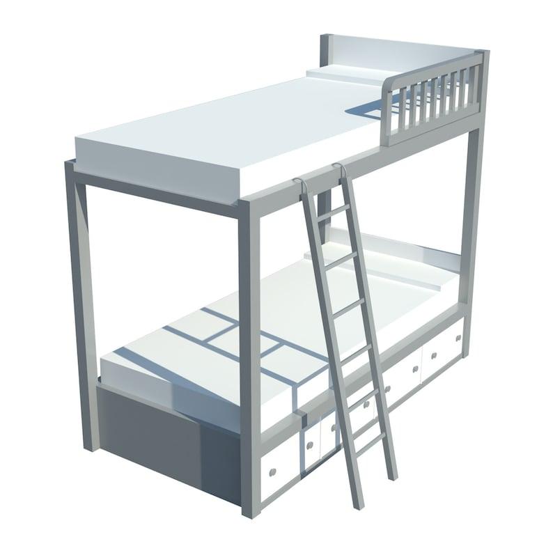 Bunk Bed Plans DIY Kids Boys Girls Bedroom Furniture w/ Ladder Storage Chest