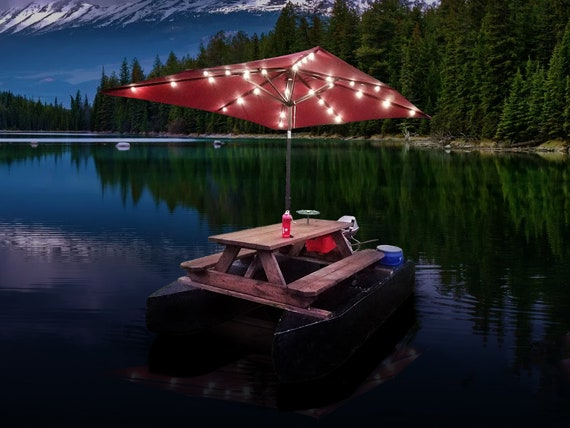 Floating Picnic Table Plans Diy Motorized Pontoon Boat With Sun Umbrella Shelter