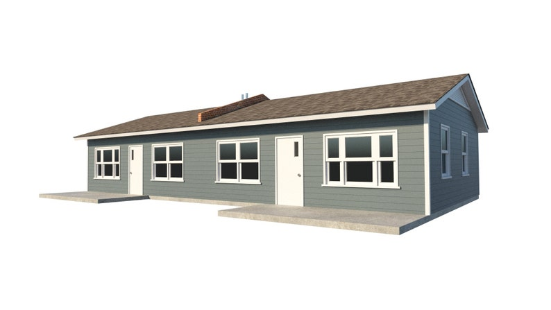 One Story Duplex House Plans Diy 1 Bedroom Tiny Home Building Etsy