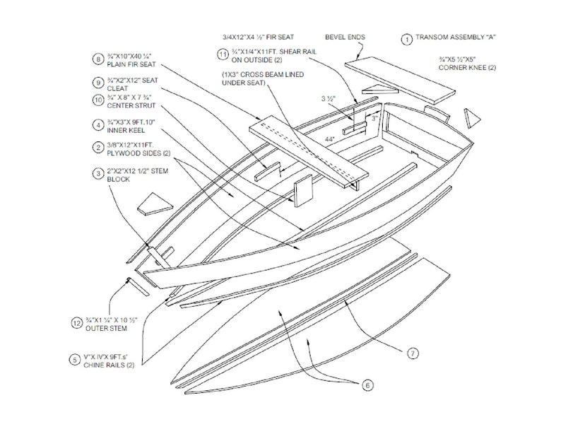 Row Boat Plans Diy Wooden Rowboat Skif Dory Canoe 11 X