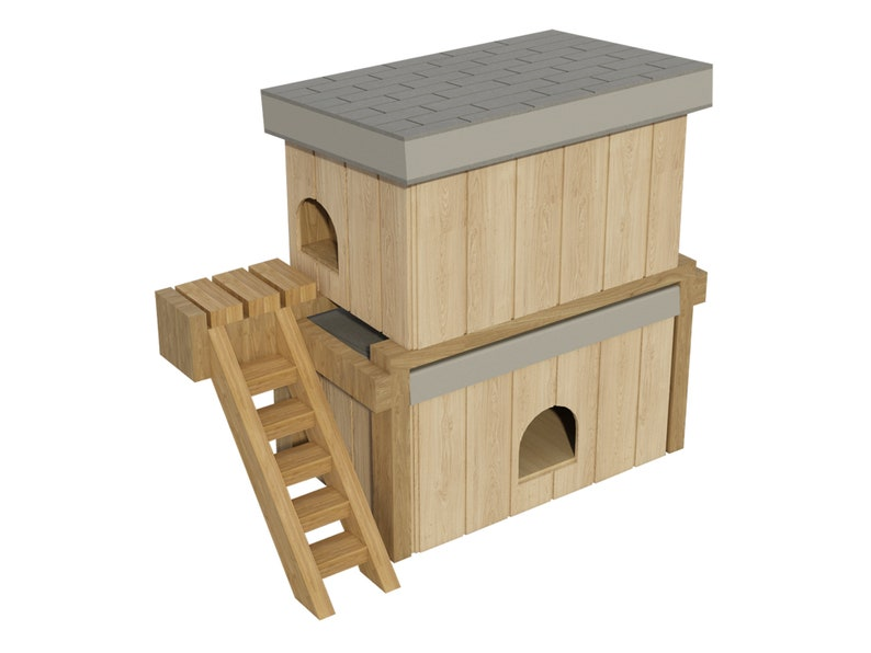 Dog House Plans Diy Medium Size Wooden Two Story Pet Kennel Etsy
