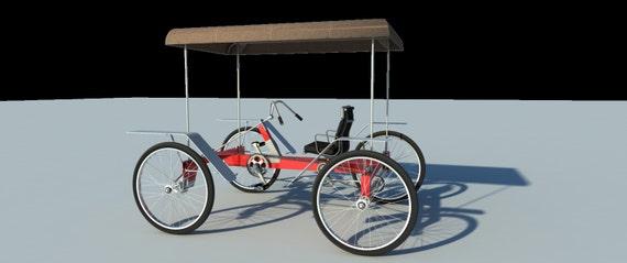 4 Wheel Bike Plans Diy Pedal Car Quad Cycle Rickshaw Pedicab Etsy
