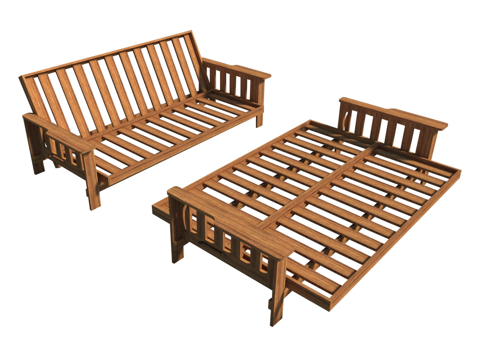 Futon Sofa Bed Plans DIY Lounger Couch Sleeper Furniture ...