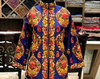 332a17573f8 Jacket, Short Length Jacket, Embroidered Jacket, Kashmiri Jacket, Blue  Jacket, Kashmiri Embroidery, Women Jackets, Bohemian Jackets, Coats