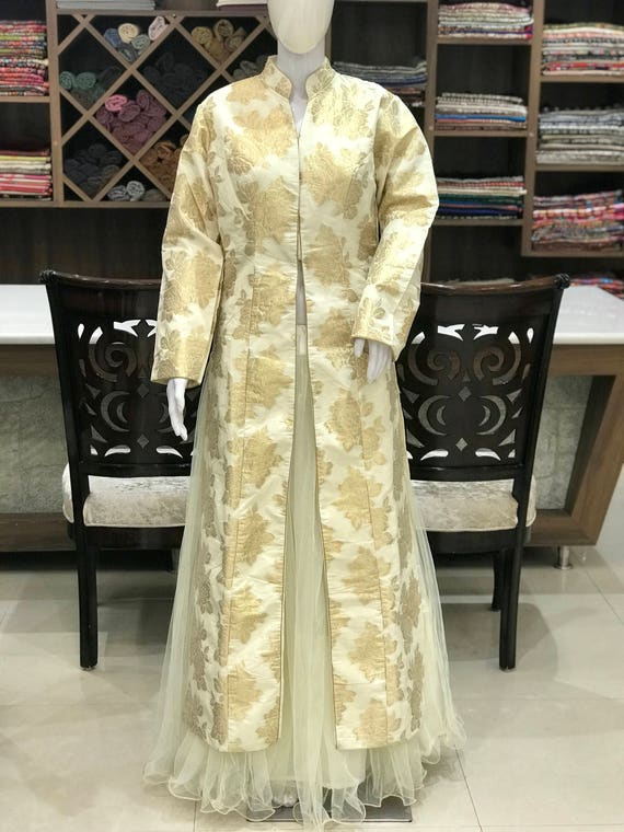 White Brocade Dress With Skirt Woman Indian Ethnic Party Etsy