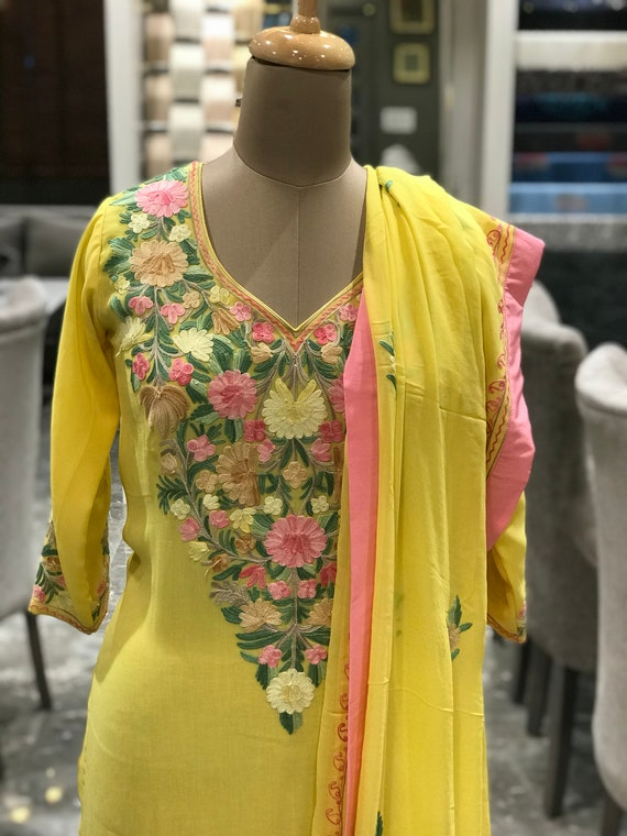kashmiri embroidered suit women indian ethnic wear party etsy kashmiri embroidered suit women indian ethnic wear party wear girls designer suits kashmir suits indian wedding suits salwar kameez