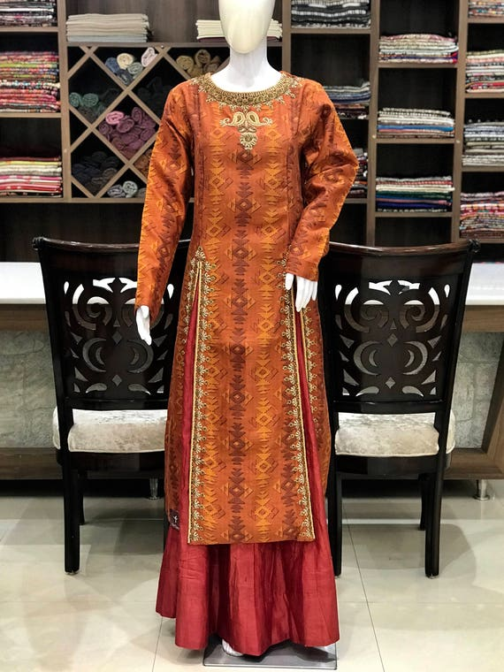 Orange Suit With Dabka Work Woman Indian Ethnic Party Wear Etsy
