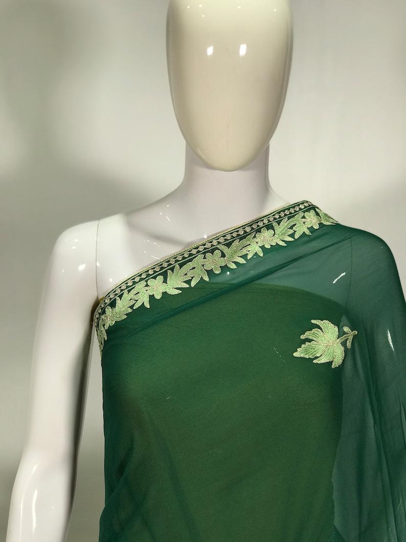 Aari /& Tilla Embroidered Kashmiri Saree Indian Ethnic Dress Green Women Saris Wedding Sarees Georgette Kashmiri Sari Traditional Outfit