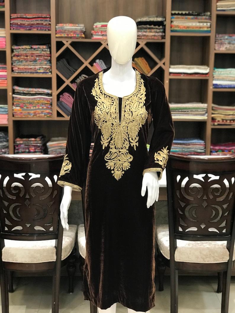 Bohemian Shirts Tunics Women Kurti Indo Western Kurtas Hippie Shirt Indian Ethnic Wear Kurtis Tilla Embroidered Kashmiri Velvet Kurta