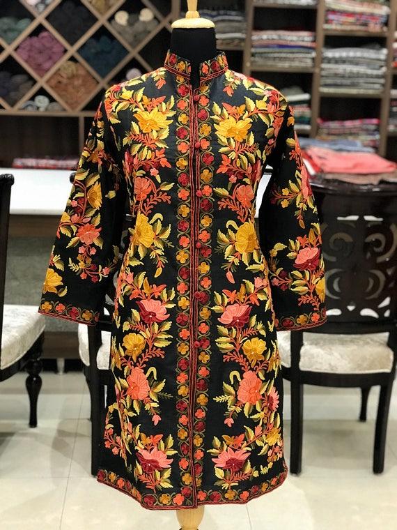 Kashmiri Jacket Boho Women Coat Jacket Embroidered Coats Embroidered Jacket for Woman Embroidery Black Kashmir Jacket Long Jacket