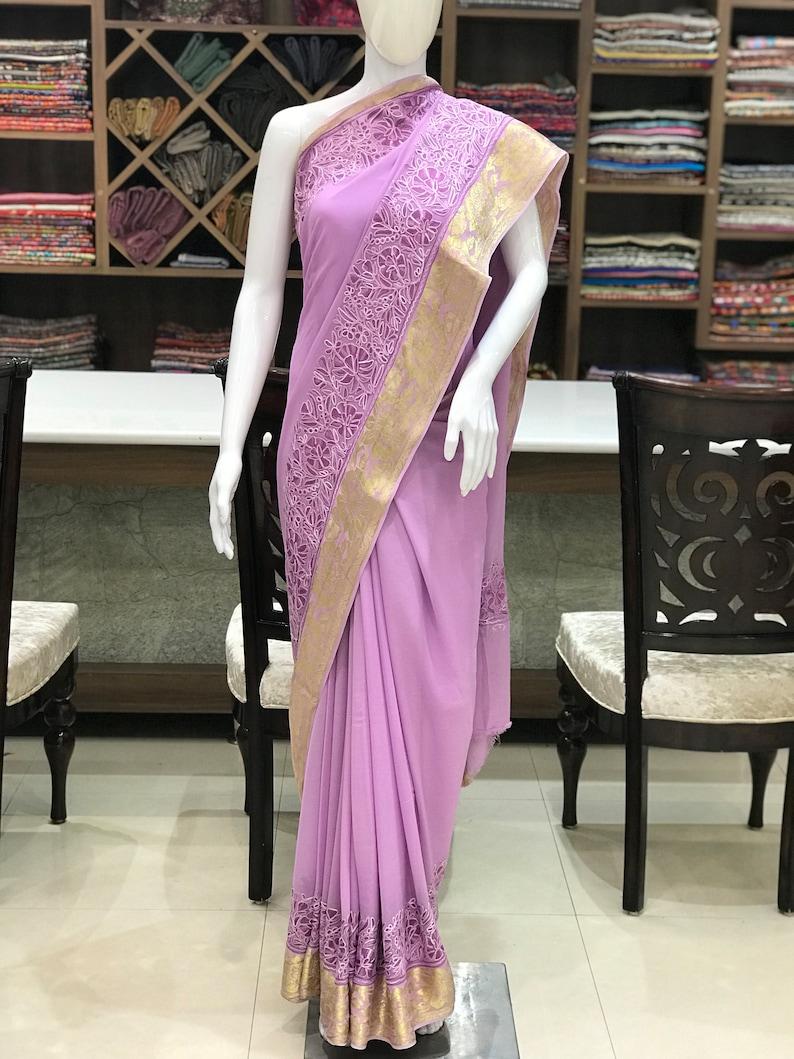 75e77beced Wiskoza Georgette Aari haftowane Kaszmiru Sari kobiety