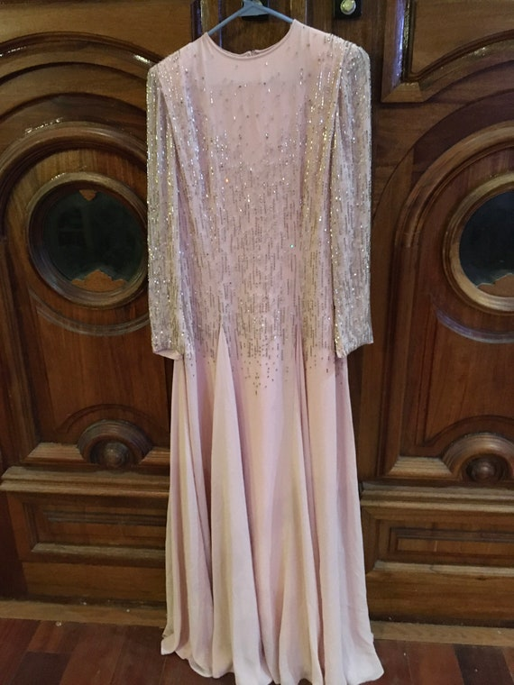 1970's GEORGE ALLETTE Beaded Pink Gown