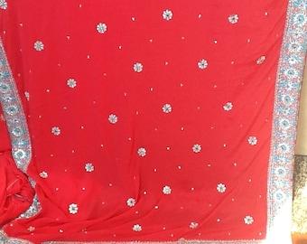 1980's HANDMADE BEADED INDIAN Sari