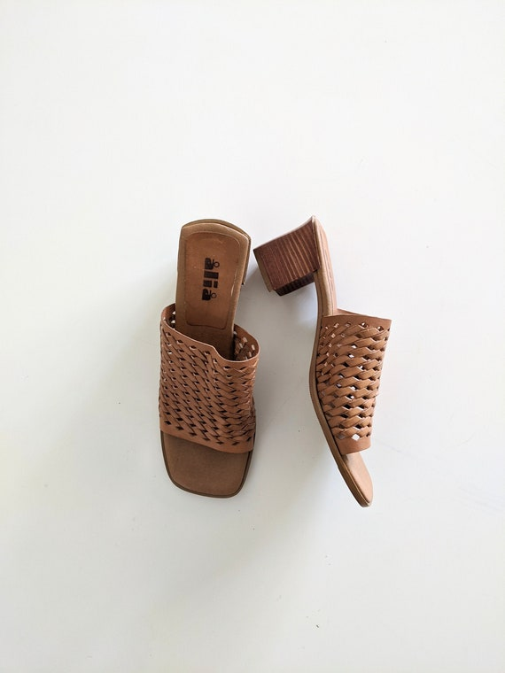 1990's Woven Tan Leather Open Toe Mules - Vintage
