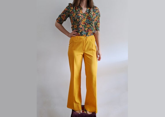 1970's Marigold High-Rise Flared Trousers - Vintag