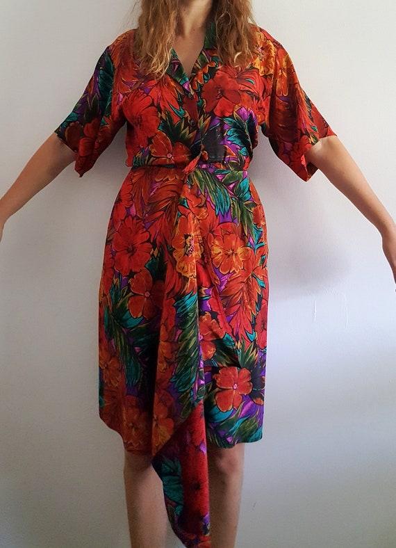 1980's Floral Silk Wrap Dress - Vintage Maggy Lon… - image 2