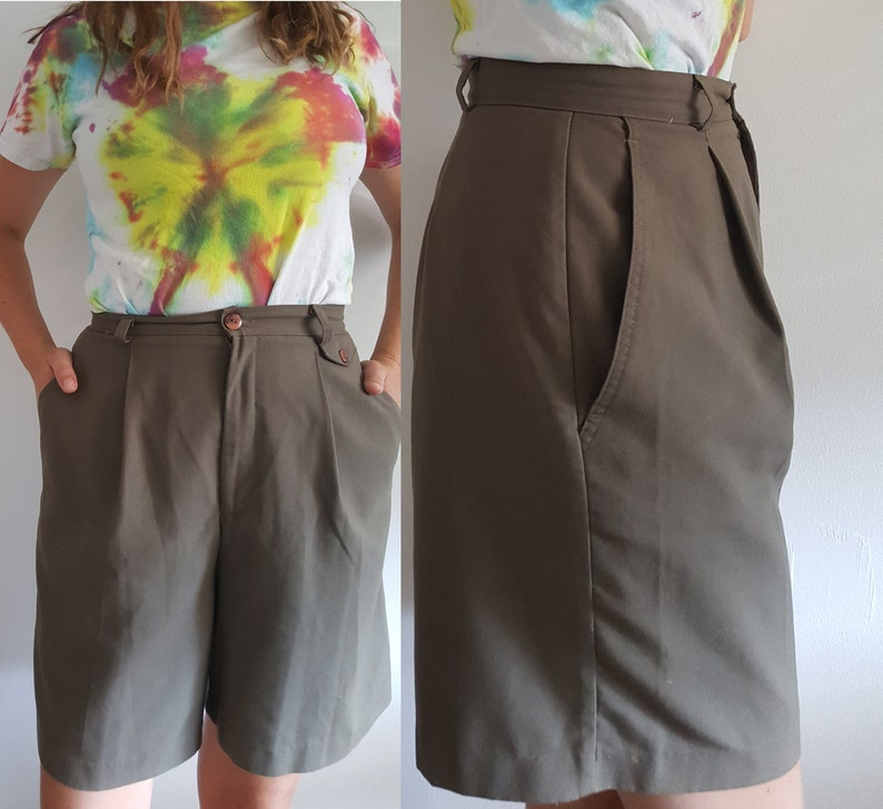 Khaki Green High Rise 1980\u2019s Olive High Waist Pleated Shorts Vintage Jessica Fits Medium or Small Girl Boss Work Party