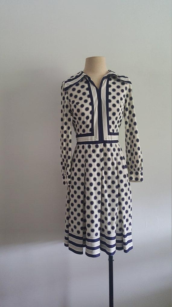1960's Polka Dot A-Line Dress - Work Party Long-Sl