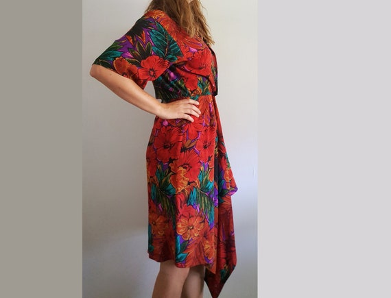 1980's Floral Silk Wrap Dress - Vintage Maggy Lond